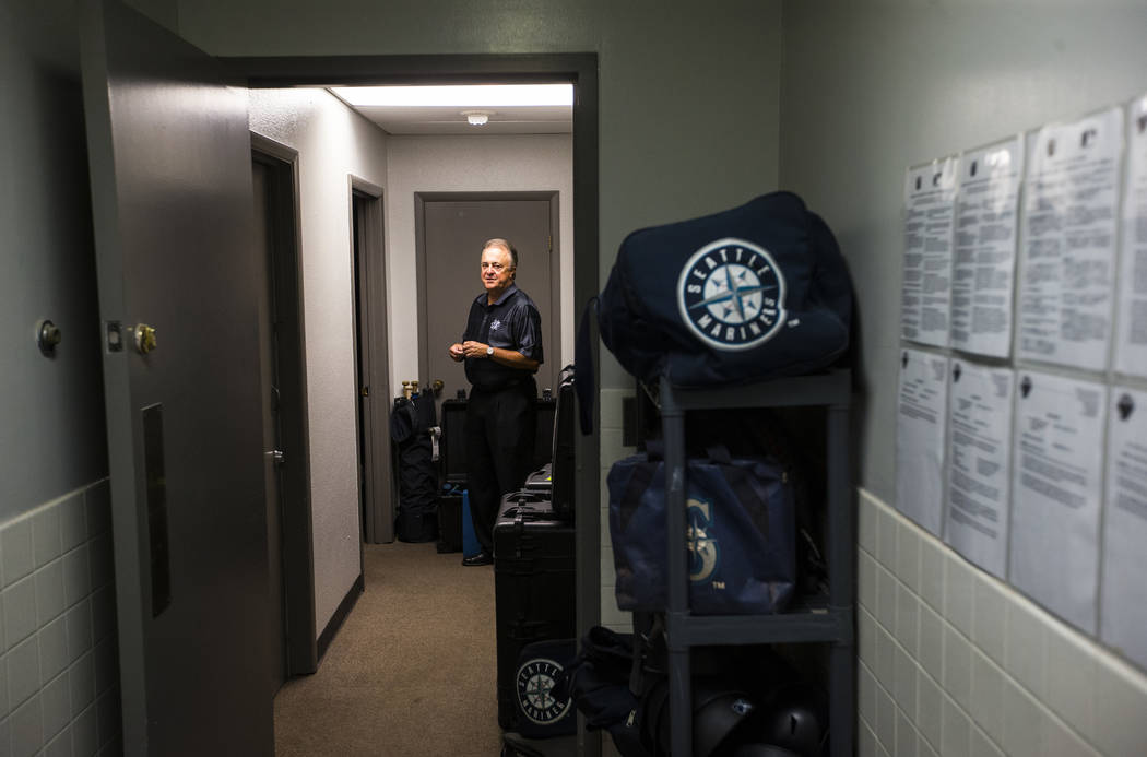Don Logan, president and chief operating officer of the Las Vegas 51s, walks through the visitors clubhouse at Cashman Field ahead of the team's move to Summerlin in Las Vegas on Wednesday, Aug. 2 ...