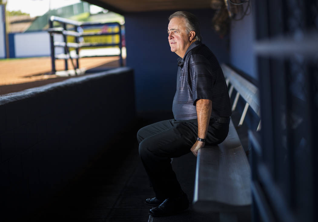 Don Logan, president and chief operating officer of the Las Vegas 51s, sits in the dugout, his favorite place to find a quiet moment, usually during batting practice, while touring Cashman Field a ...