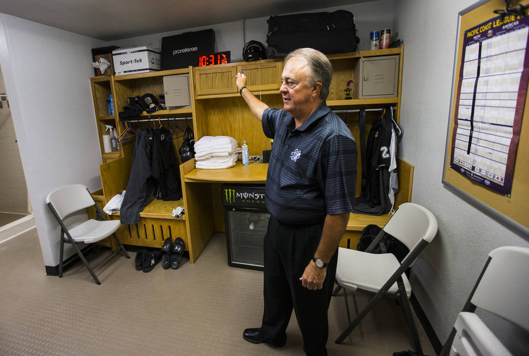 Don Logan, president and chief operating officer of the Las Vegas 51s, shows the umpire's room at Cashman Field ahead of the team's move to Summerlin in Las Vegas on Wednesday, Aug. 29, 2018. Chas ...