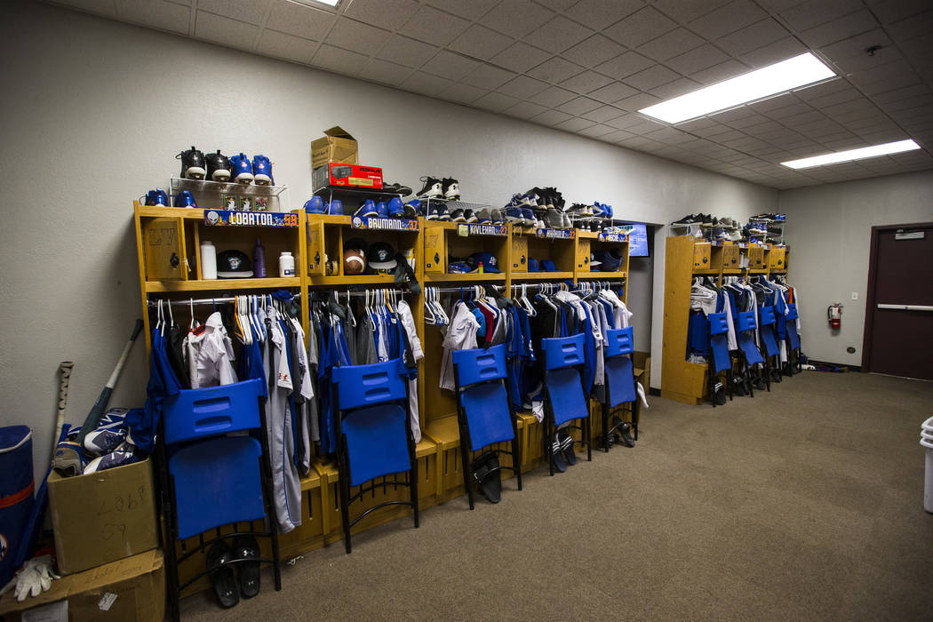 A view of the locker room area in the Las Vegas 51s clubhouse at Cashman Field ahead of the team's move to Summerlin in Las Vegas on Wednesday, Aug. 29, 2018. Chase Stevens Las Vegas Review-Journa ...