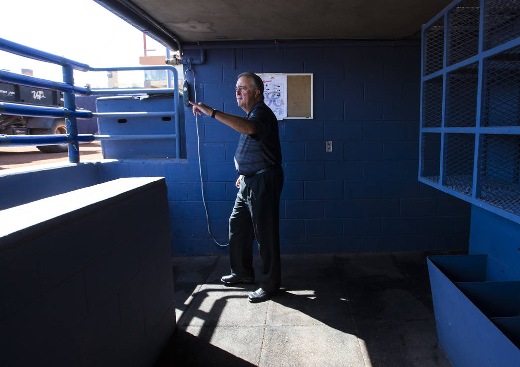 Don Logan, president and chief operating officer of the Las Vegas 51s, walks through the visitors dugout at Cashman Field ahead of the team's move to Summerlin in Las Vegas on Wednesday, Aug. 29, ...