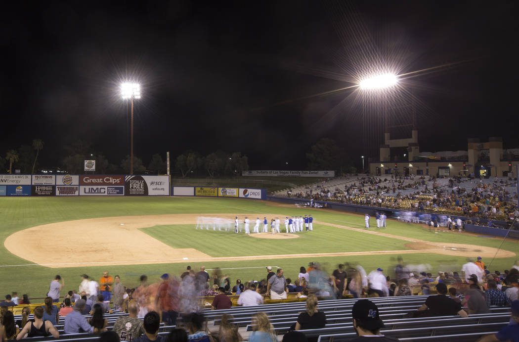 The 51s shake hands at the conclusion of their game with the Sacramento River Cats on Friday, Aug. 31, 2018, in Las Vegas. Benjamin Hager Las Vegas Review-Journal @benjaminhphoto