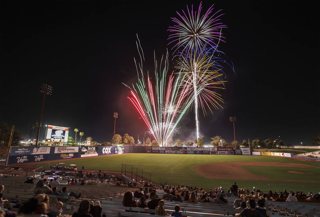 Fireworks light up the sky at Cashman Field at the conclusion of the 51s home game with the Sacramento River Cats on Friday, Aug. 31, 2018, in Las Vegas. Benjamin Hager Las Vegas Review-Journal @b ...