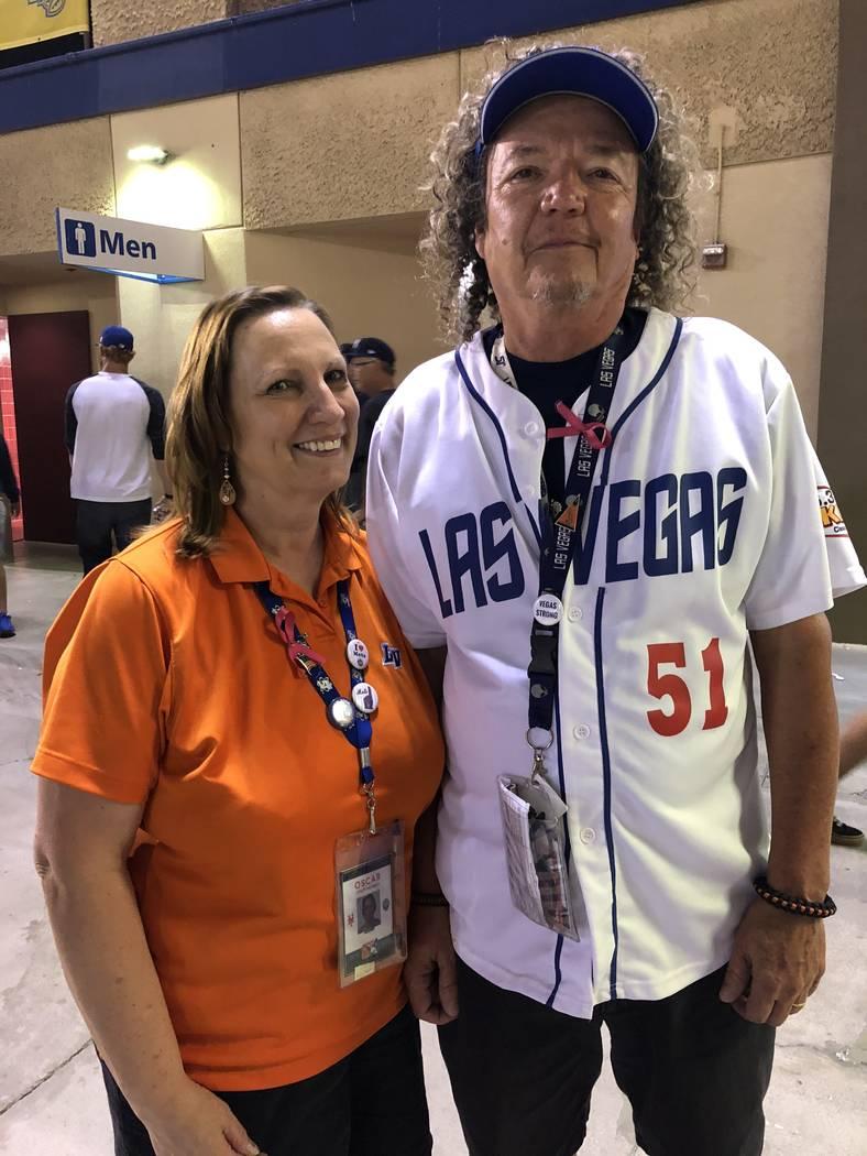 Oscar Pitt, an usher, left, and her husband, Jeff Pitt, an usher supervisor, pose for a photo at Cashman Field in Las Vegas, Saturday, Sept.1, 2018. Betsy Helfand Las Vegas Review-Journal