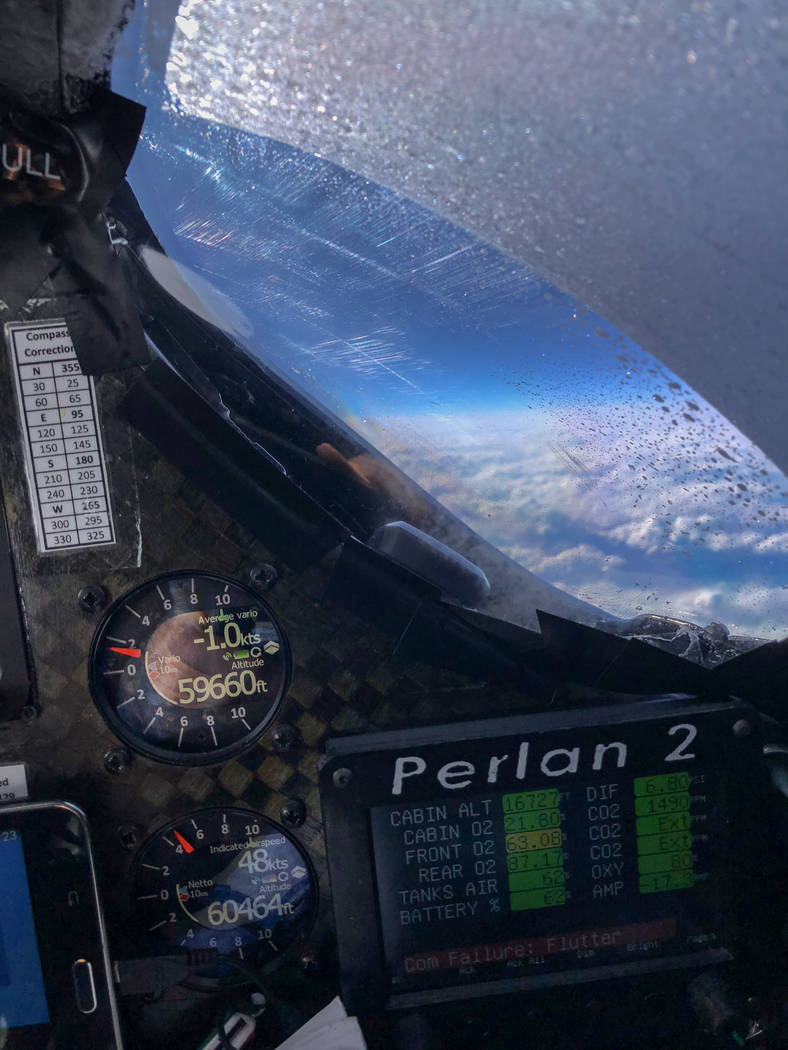 A pilot's eye view from the Perlan 2 glider's cockpit during a flight earlier this year. (Jim Payne)