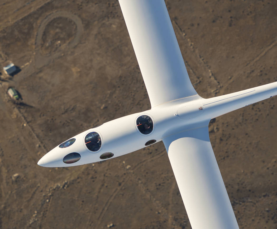 The Perlan 2 sailplane as seen from above during a flight earlier this year. On Tuesday, the Nevada-based aircraft set an unofficial world altitude record for gliders when it rode air currents ab ...