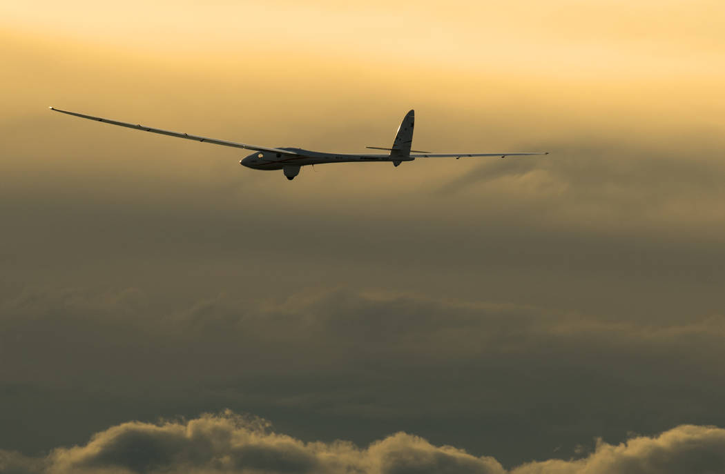 The Perlan 2 sailplane soars above the clouds earlier this year. On Tuesday, the Nevada-based aircraft set an unofficial world altitude record for gliders when it rode air currents above the mount ...