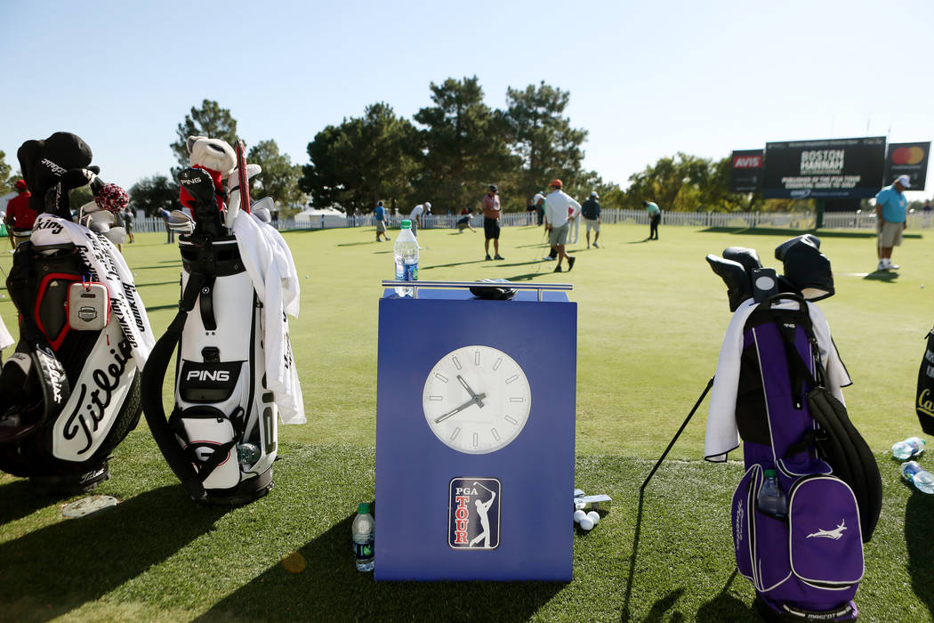 Participants of the Shriners Hospitals for Children Open, PGA Tour on the practice putting green during preview day at TPC Summerlin in Las Vegas, Wednesday, Nov. 1, 2017. Elizabeth Brumley Las Ve ...