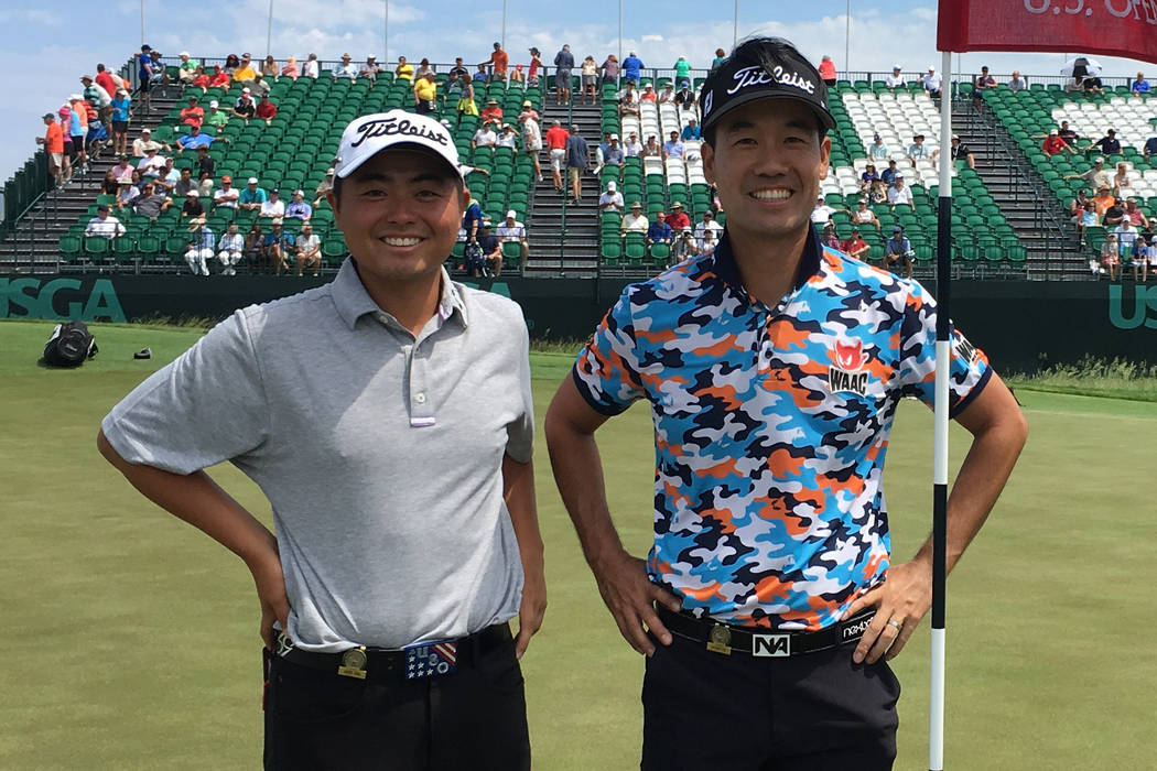 Former Rebel John Oda (left) missed the cut at the 2017 U.S. Open at Erin Hills in Wisconsin but played a practice round with his mentor, Las Vegas PGA Tour pro Kevin Na. Courtesy John Oda.