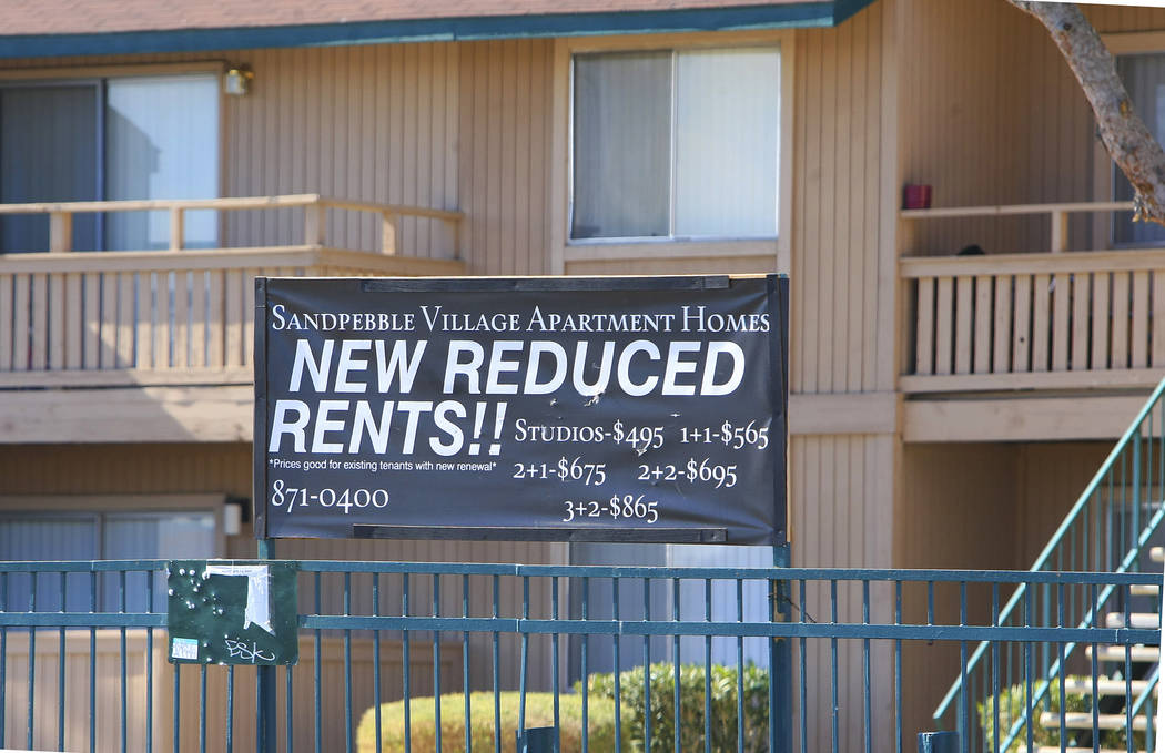 A banner advertising reduced rents is shown outside an apartment complex along Arville Street on Monday, Feb. 1, 2010, in Las Vegas. (File Photo)