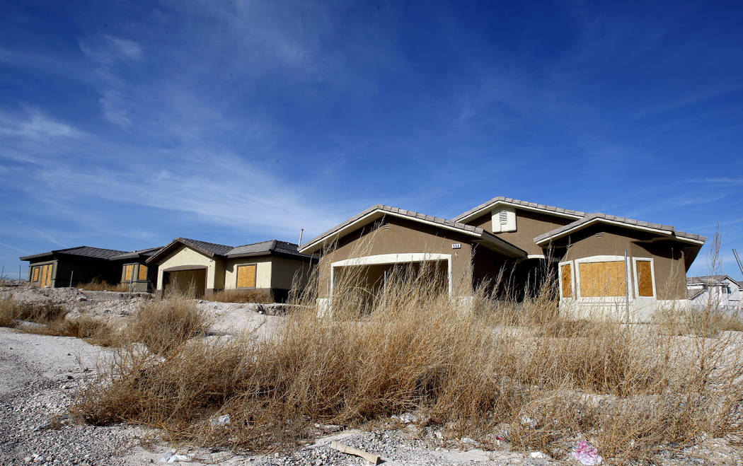Homes are boarded up in the failed Desert Mesa development in North Las Vegas on Tuesday, January 5, 2010. (File Photo)