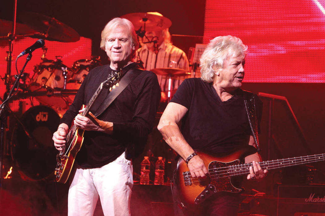 Justin Hayward and John Lodge of the classic rock band The Moody Blues perform in concert at the American Music Theater on Wednesday, March 12, 2014, in Lancaster, Pa. (Photo by Owen Sweeney/Invis ...