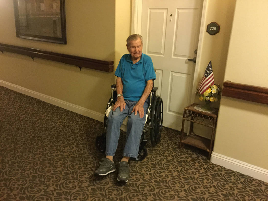 Stan Conley poses outside his room at Pacifica Senior Living San Martin. Jacob Lasky/Las Vegas Review-Journal