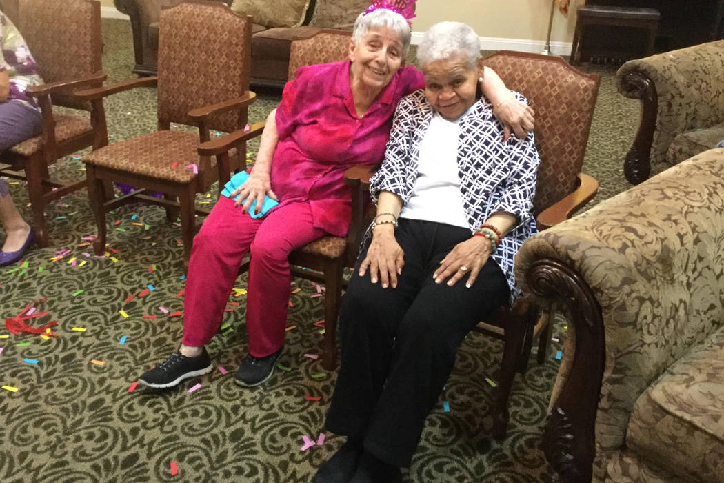 Louise Greco,100, (left) poses with her friend Thelma Newsam, 90 at her 100th birthday celebration at Pacifica Senior Living San Martin. Jacob Lasky/Las Vegas Review-Journal