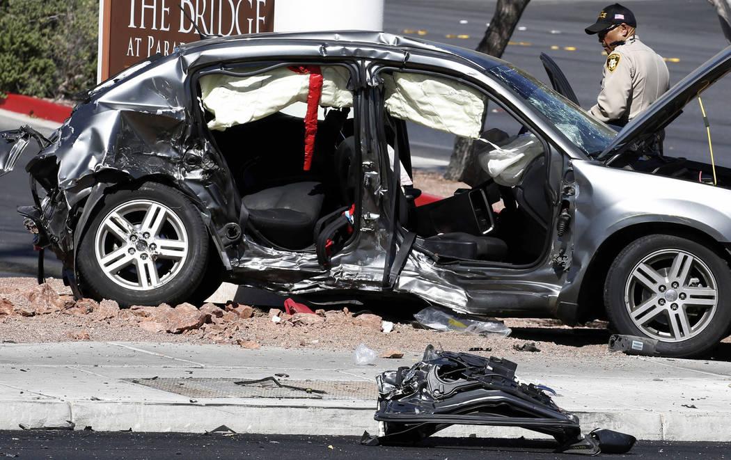 Las Vegas police are investigating a fatal three-vehicle crash at Eastern and Harmon avenues on Friday, Aug. 31, 2018, in Las Vegas. (Bizuayehu Tesfaye/Las Vegas Review-Journal) @bizutesfaye
