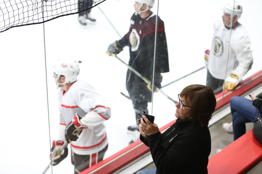 Karen Zenner watches her son Dustyn practice with the Vegas Golden Knights during a team practice at City National Arena in Las Vegas, Tuesday, Sept. 4, 2018. Erik Verduzco Las Vegas Review-Journa ...