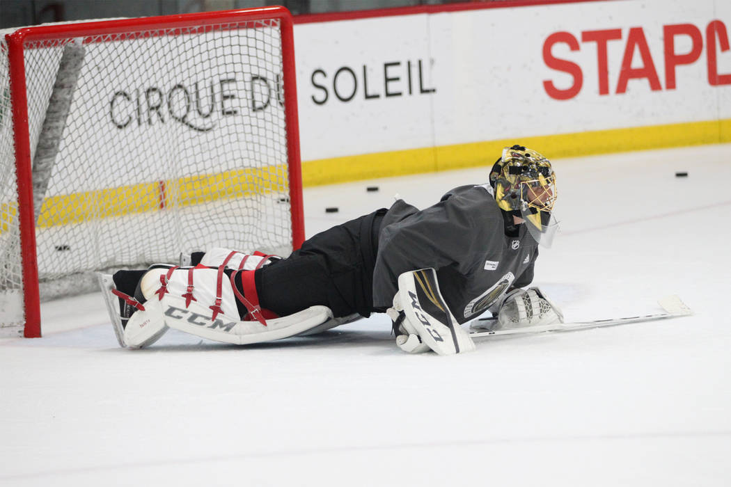 Vegas Golden Knights goaltender Marc-Andre Fleury (29) goes down for push-ups during a team practice at City National Arena in Las Vegas, Tuesday, Sept. 4, 2018. Erik Verduzco Las Vegas Review-Jou ...