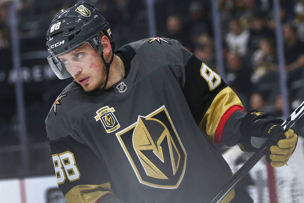 In this May 4, 2018, file photo, Golden Knights defenseman Nate Schmidt (88) looks on during a break against the San Jose Sharks in the second period of Game 5 of an NHL hockey second-round playof ...