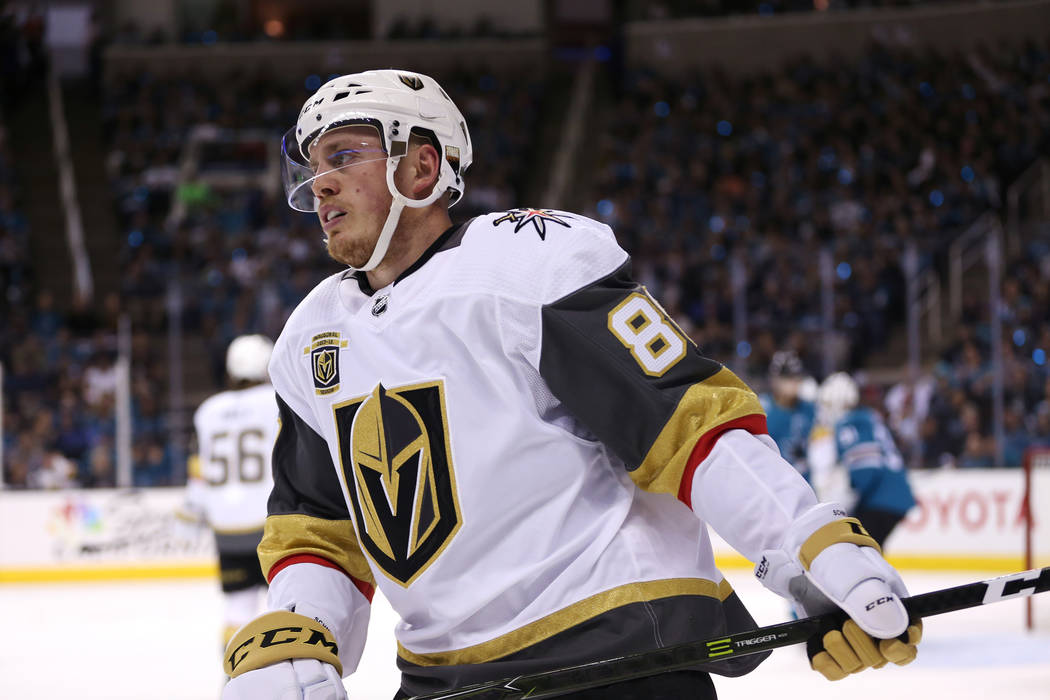 Vegas Golden Knights defenseman Nate Schmidt (88) during the first period in Game 6 of an NHL hockey second-round playoff series at the SAP Center in San Jose, Calif., Sunday, May 6, 2018. (Erik V ...