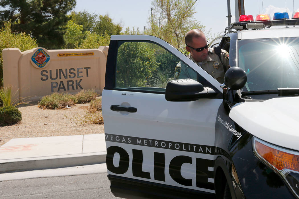 Las Vegas police block an entrance to Sunset Park as they search for Daniel Theriot, 3, who went missing in the park about 9 a.m. Sunday, Aug. 2, 2018. Chitose Suzuki Las Vegas Review-Journal @chi ...