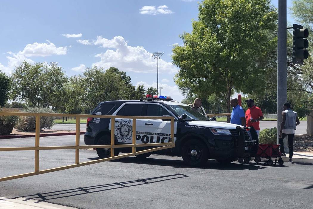 All entrances to Sunset Park are blocked by Las Vegas police as they search for Daniel Theriot, 3, who went missing in the park about 9 a.m. Sunday, Aug. 2, 2018. (Rio Lacanlale/Las Vegas Review-J ...