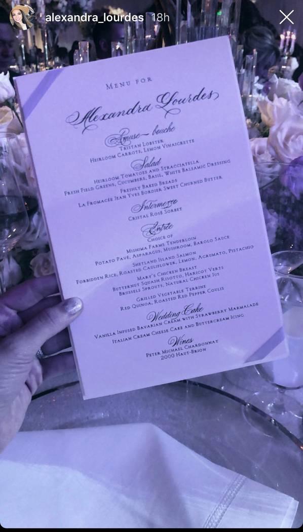 The dinner menu for the Kelley Fertitta-Tyler Nemiro wedding is shown on Saturday, Sept. 1, 2018 at Red Rock Resort in Las Vegas. (@Alexandra_Lourdes Instagram)