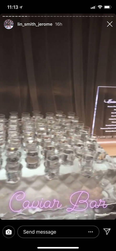 The caviar bar for Kelley Fertitta-Tyler Nemiro wedding is shown on Saturday, Sept. 1, 2018 at Red Rock Resort in Las Vegas (@lin_smith_jerome Instagram)