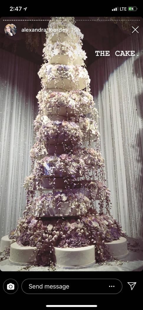 The wedding cake for the Kelley Fertitta-Tyler Nemiro wedding is shown on Saturday, Sept. 1, 2018 at Red Rock Resort in Las Vegas (@Alexandra Lourdes/Instagram)