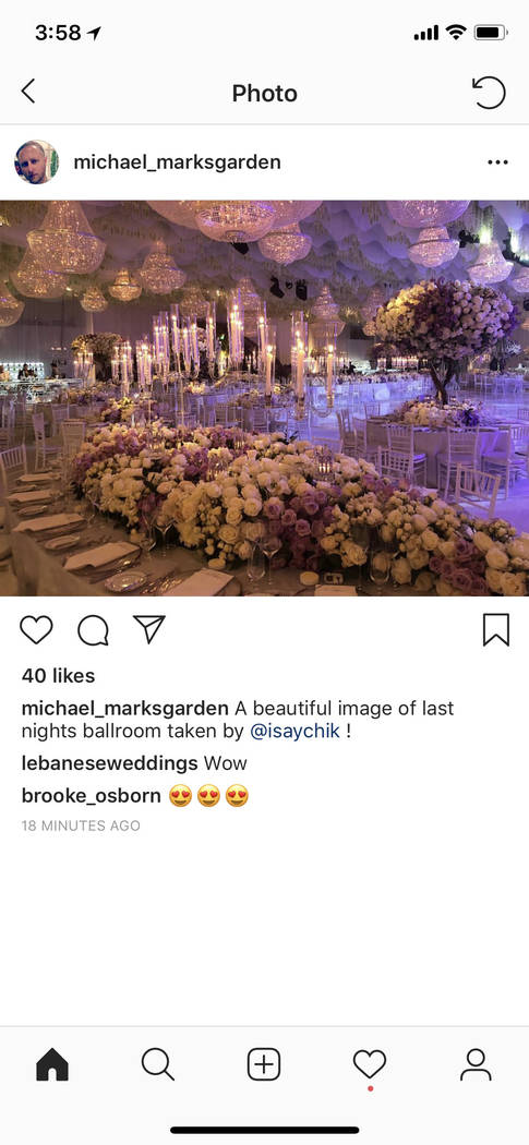 The lavish floral display for the Kelley Fertitta-Tyler Nemiro wedding is shown on Saturday, Sept. 1, 2018 at Red Rock Resort in Las Vegas. (@michael_marksgarden Instagram)