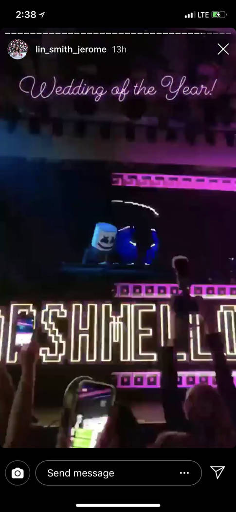 Marshmello is shown performing at the after-party of the Kelley Fertitta-Tyler Nemiro wedding on Saturday, Sept. 1, 2018 at Red Rock Resort in Las Vegas (@lin_smith_jerome Instagram)