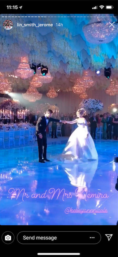 Kelley and Tyler Nemiro are shown during their first dance as a married couple on Saturday, Sept. 1, 2018 at Red Rock Resort in Las Vegas (@lin_smith_jerome Instagram)