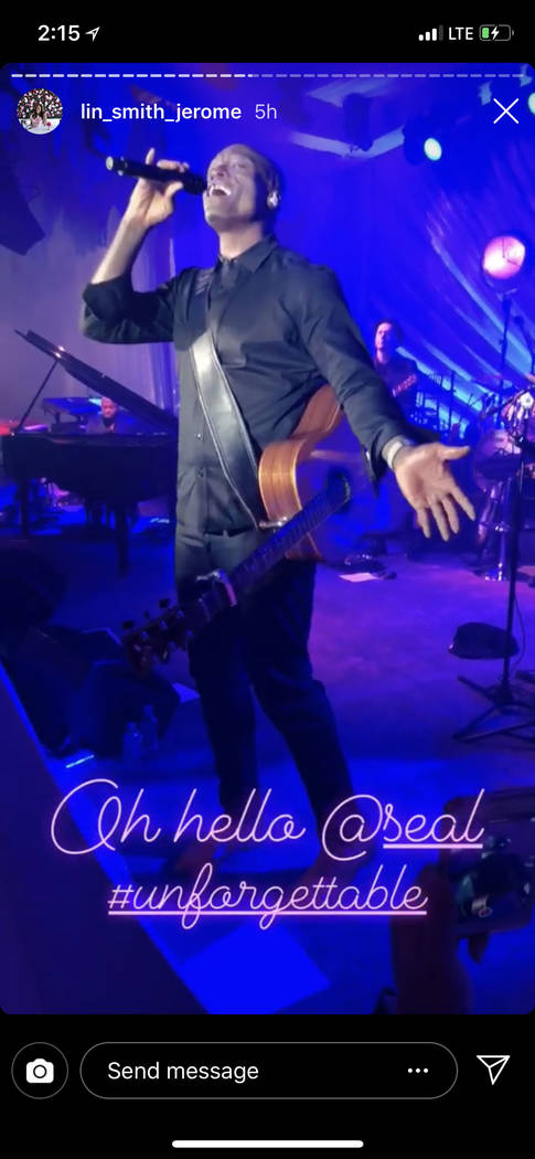 Music star Seal is shown performing at the after-party of the Kelley Fertitta-Tyler Nemiro wedding on Saturday, Sept. 1, 2018 at Red Rock Resort in Las Vegas (@lin_smith_jerome Instagram)