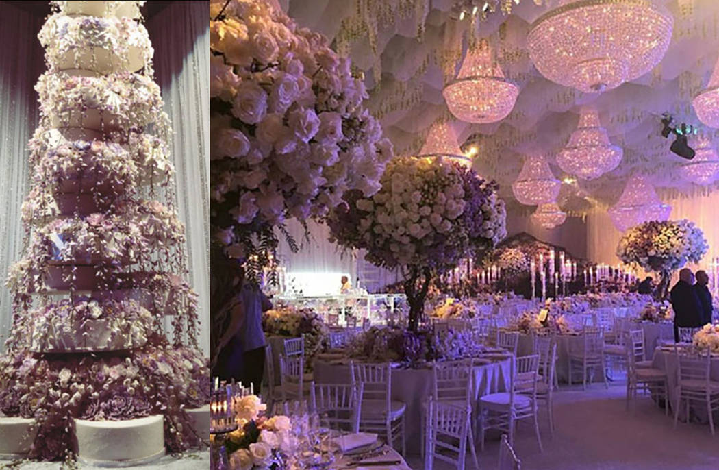 The wedding cake, left, and a lavish floral display are seen at the Kelley Fertitta-Tyler Nemiro wedding on Saturday, Sept. 1, 2018 at Red Rock Resort in Las Vegas. (@Alexandra Lourdes/Instagram a ...