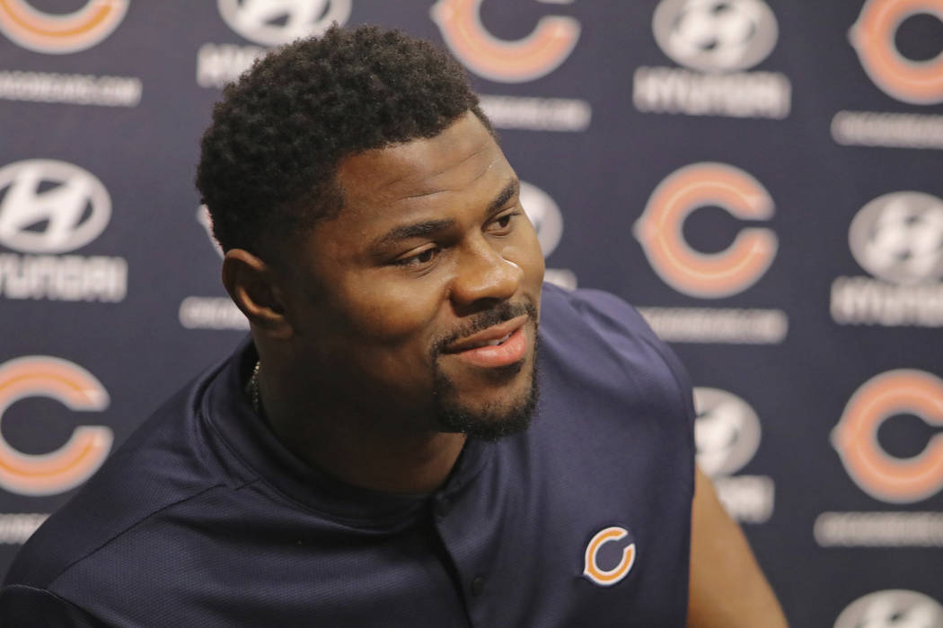 Newly acquired Chicago Bears player Khalil Mack speaks with the media during a news conference Sunday, Sept. 2, 2018, at Halas Hall in Lake Forest, Ill. (Tim Boyle/Chicago Sun-Times via AP)