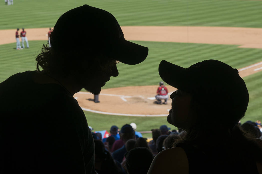 Adam Carter and girlfriend Kaela Eshenbrenner attend the last Las Vegas 51s game at Cashman Field in Las Vegas, Monday, Sept. 3, 2018. (Marcus Villagran/Las Vegas Review-Journal) @marcusvillagran