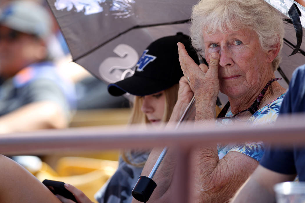 Long time season ticket holder Jean Vaughan, 73, with her granddaughter Haley Vaughan, 16, during the Las Vegas 51s final game ever at Cashman Field in Las Vegas Monday, Sept. 3, 2018. The team wi ...