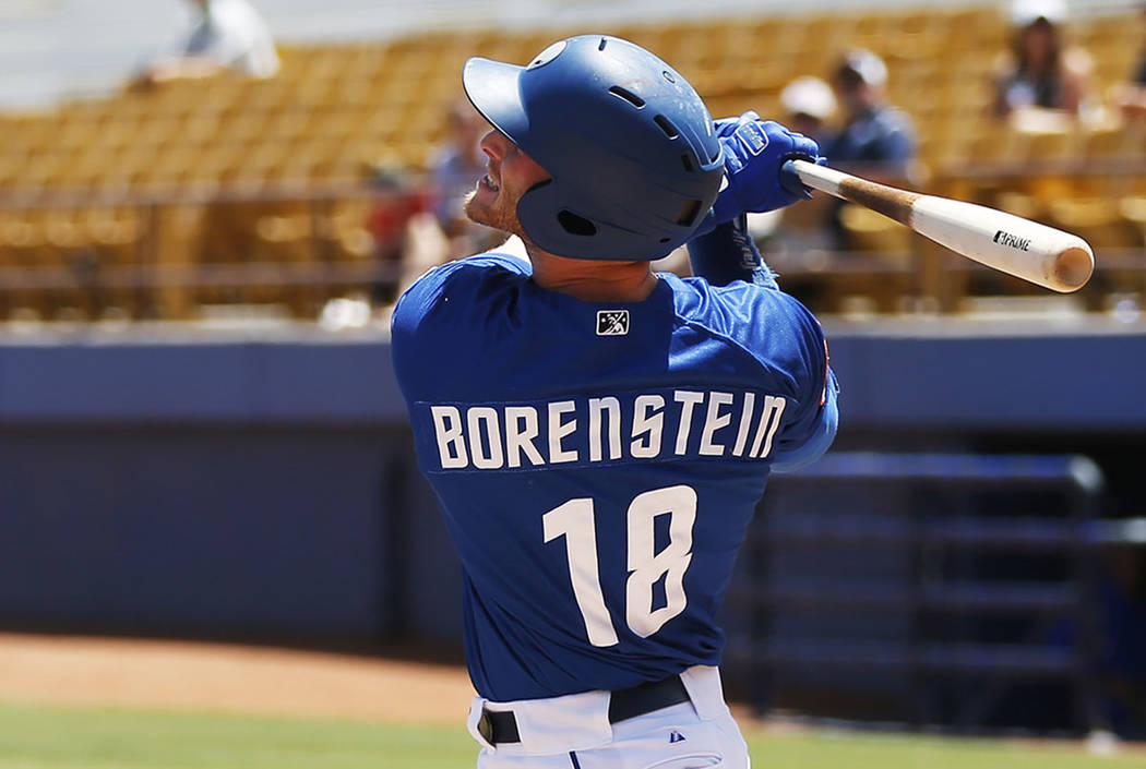 Las Vegas 51s' left fielder Zach Borenstein (18) swings against the Albuquerque Isotopes at Cashman Field in Las Vegas on Sunday, May 13, 2018. (Las Vegas Review-Journal)