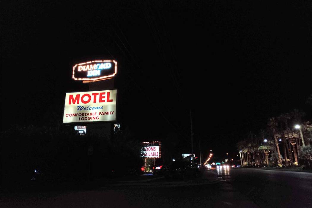 Las Vegas police are investigating an incident Monday, Sept. 3, 2018, at the Diamond Inn Motel on the south end of the Strip. (Max Michor/Las Vegas Review-Journal)