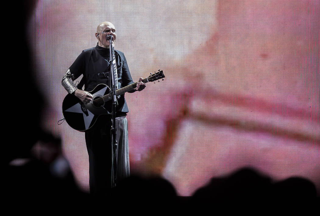 Billy Corgan of the Smashing Pumpkins performs as part of their Shiny And Oh So Bright Tour at the T-Mobile Arena in Las Vegas, Sunday, Sept. 2, 2018. Rachel Aston Las Vegas Review-Journal @rookie ...