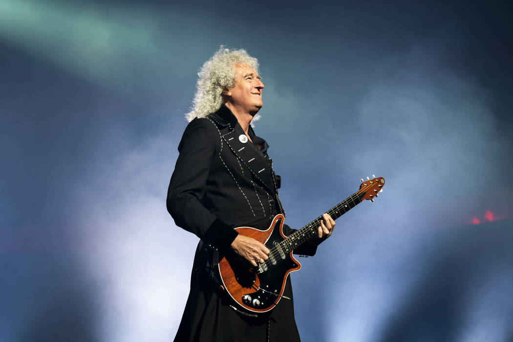 Queen guitarist Brian May performs at Park MGM theater in Las Vegas, Saturday, Sept. 1, 2018. Queen + Adam Lambert will perform 10 shows at Park Theater through September 22. (Marcus Villagran/Las ...