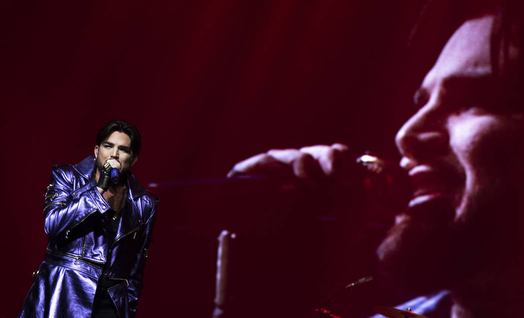 Adam Lambert performs with Queen at Park MGM theater in Las Vegas, Saturday, Sept. 1, 2018. Queen + Adam Lambert will perform 10 shows at Park Theater through September 22. (Marcus Villagran/Las V ...