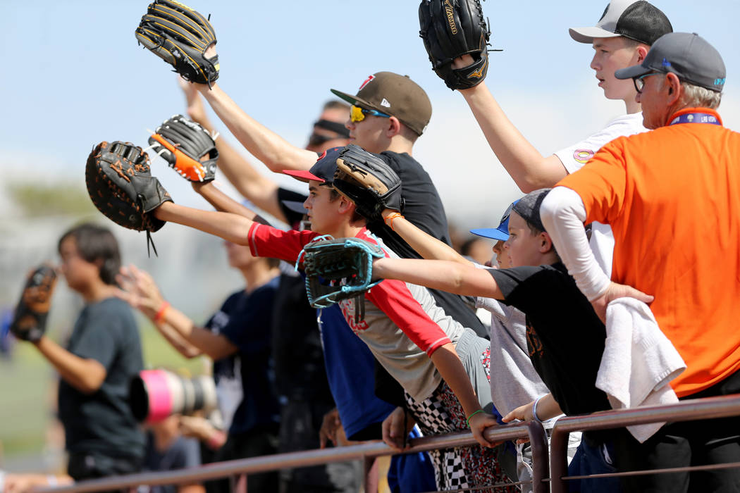 Las Vegas 51s fans look to catch a ball during the final game ever at Cashman Field in Las Vegas Monday, Sept. 3, 2018. The team will move to a new stadium in Summerlin next season. K.M. Cannon La ...