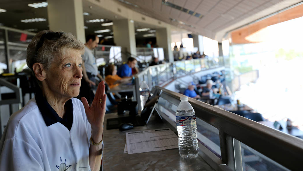 Long time season ticket holder Sue Olson of Bunkerville talks to a reporter before the Las Vegas 51s final game ever at Cashman Field in Las Vegas Monday, Sept. 3, 2018. The team will move to a ne ...