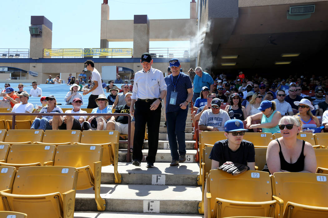 Clark County Commissioner Larry Brown, left, with Las Vegas Review-Journal columnist Ron Kantowski before the Las Vegas 51s final game ever at Cashman Field in Las Vegas Monday, Sept. 3, 2018. The ...