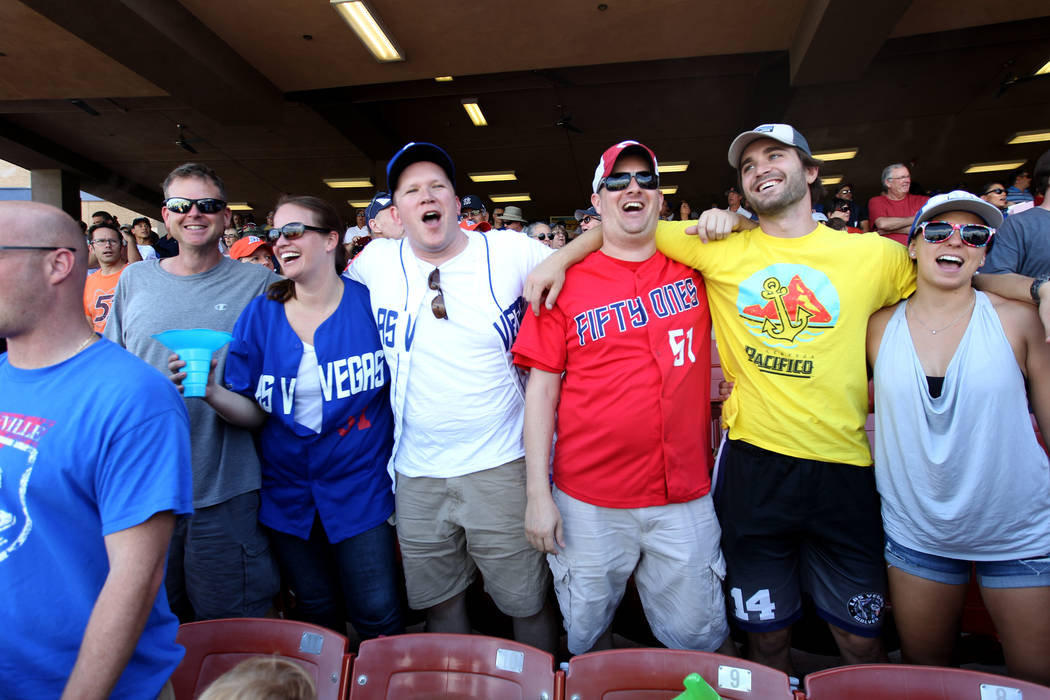 Randy Pagel, from left, Heather Houchens, Matthew Christian, David Jackson, John Albanese and Emily Casale sing during the Las Vegas 51s final game ever at Cashman Field in Las Vegas Monday, Sept. ...