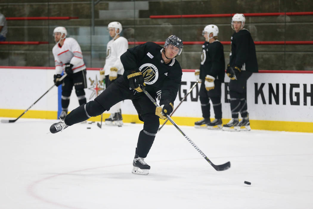 Vegas Golden Knights defenseman Nick Holden (22) during a team practice at City National Arena in Las Vegas, Tuesday, Sept. 4, 2018. Erik Verduzco Las Vegas Review-Journal @Erik_Verduzco