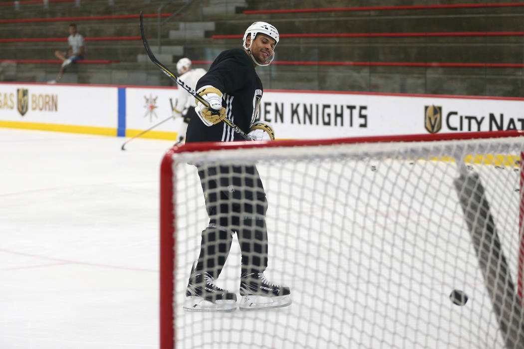 Vegas Golden Knights right wing Ryan Reaves (75) during a team practice at City National Arena in Las Vegas, Tuesday, Sept. 4, 2018. Erik Verduzco Las Vegas Review-Journal @Erik_Verduzco