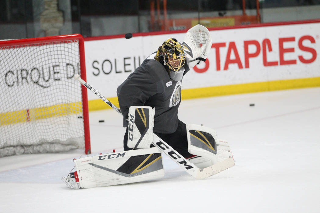 Vegas Golden Knights goaltender Marc-Andre Fleury (29) during a team practice at City National Arena in Las Vegas, Tuesday, Sept. 4, 2018. Erik Verduzco Las Vegas Review-Journal @Erik_Verduzco