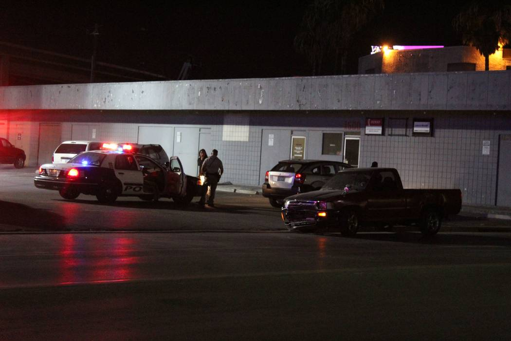 Police believe a man was impaired when his pickup crashed into a central Las Vegas strip club early Tuesday Sept. 4, 2018. (Max Michor/Las Vegas Review-Journal)