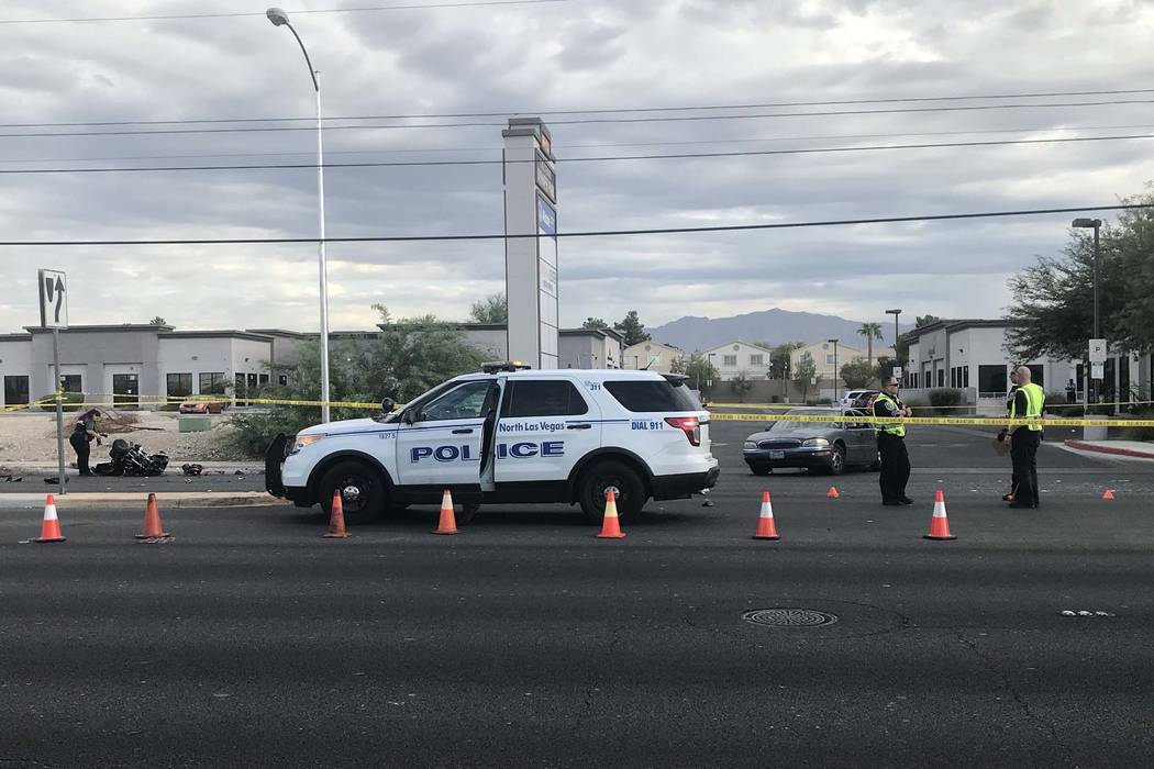 North Las Vegas police investigate a fatal crash on Cheyenne Avenue near Allen Lane, Tuesday, Sept. 4, 2018. (Twitter/North Las Vegas Police Department @NLVPD)
